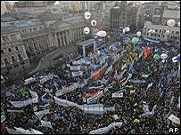 Marcha a favor del gobierno en Argentina