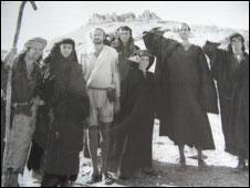 Terry Gilliam, Terry Jones, Graham Chapman, Eric Idle, Sue Jones-Davies (centre) , John Cleese and Michael Palin