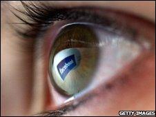 Facebook logo in eye