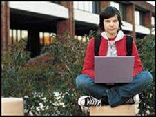 Student using laptop, BBC