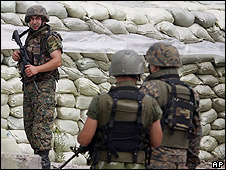 Georgian soldiers in ethnic Georgian village of Ergneti, 5 Aug 08