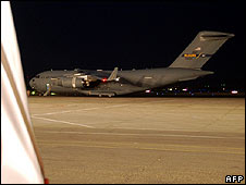 A  US C-17 transport plane sits at Tbilisi Airport on 13 August