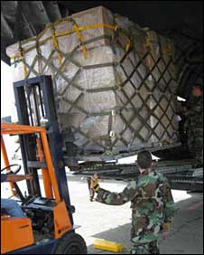 US military aircraft unload relief supplies at Tbilisi airport