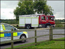 Police car and fire engine near the scene