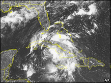 NOAA satellite image showing tropical storm Fay over Cuba (17 August 2008)