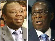 Morgan Tsvangirai and Robert Mugabe, file images