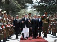 President Sarkozy with President Karzai at the presidential palace in kabul