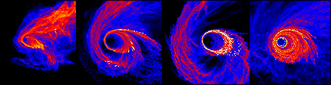 Computer simulation of a molecular cloud falling into a black hole (Science/AAAS)