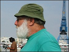 Jeff Halper in Cyprus before sailing to Gaza - 20/8/2008