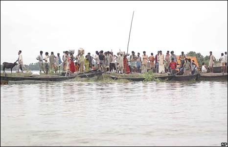 Villagers in Bihar board boats to flee to higher ground