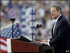Al Gore speaks at Invesco Field, Denver, 28 Aug
