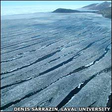 Melt water on ice shelf
