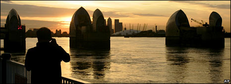 Thames Barrier in the evening