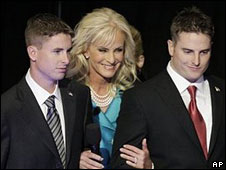 Cindy McCain with sons Jimmy, left, and Jack, 4 Sept
