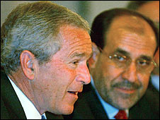 US President Bush with Iraqi PM Nouri al-Maliki in Baghdad in 2006