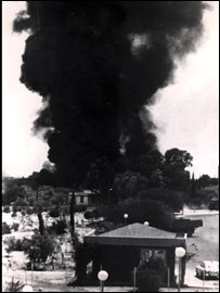 Air strike by Turkish Air Force during their invasion of Cyprus, 1974.