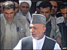 Hamid Karzai visiting Azizabad