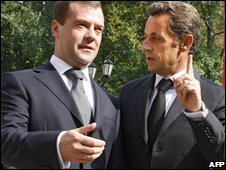 Mr Medvedev and Mr Sarkozy in Moscow, 08/09