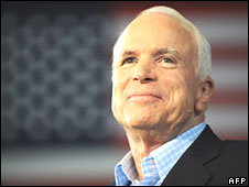 Sen John McCain in Sterling Heights, Michigan, on 5 September 2008