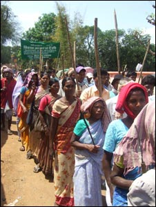 A crowd of tribals in Jharkhand, India