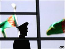 A Turkmen policeman in Ashgabat in February 2007