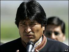 President Evo Morales speaks on arrival at Santiago airport on 15 September 2008