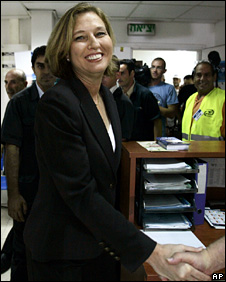 Tzipi Livni after casting her vote on Wednesday