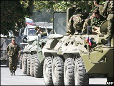 Russian troops in the South Ossetian capital, Tskhinvali