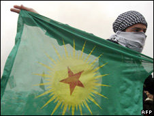 A Turkish youth holds a PKK flag (file image)