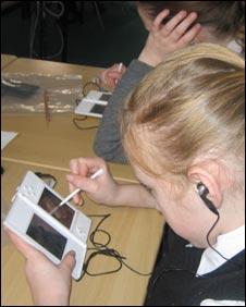 Girls playing computer game