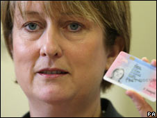 Jacqui Smith with the new ID card