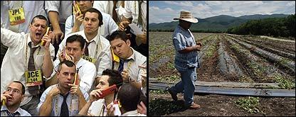 Operadores en la bolsa de Sao Paulo (izq) y un granjero en México.