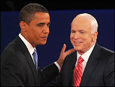 Barack Obama (L) and John McCain at Nashville debate