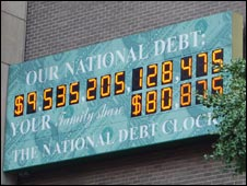 A picture of the debt clock taken in October by Mervyn Kaye