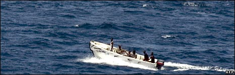 Somali pirates in a speedboat in the Indian Ocean