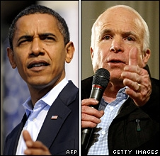 Composite image of Barack Obama (L) and John McCain campaigning on 2 November 2008