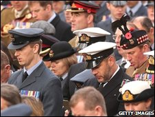 Military personnel gather athe Cenotaph