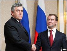Gordon Brown and Dmitry Medvedev