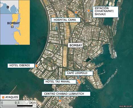 Mapa de los ataques en Bombay