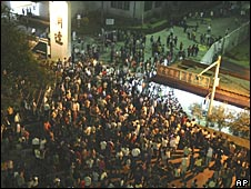 About 500 protesters rioted at a toy factory in southern China on 25 November 2008