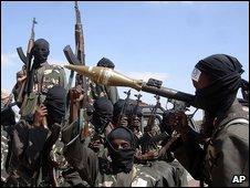 Armed militants in Somalia