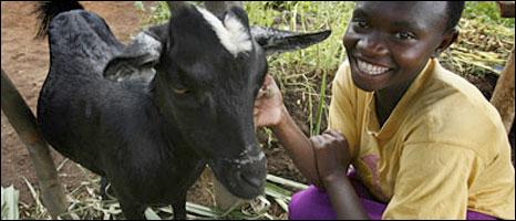 Celina Muberarugo and her goat in Nyamikamba, Rwanda (Photo Kate Holt/Oxfam)