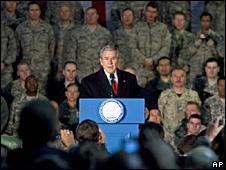 George Bush addresses US troops at Bagram air base, Afghanistan (15 December 2008)