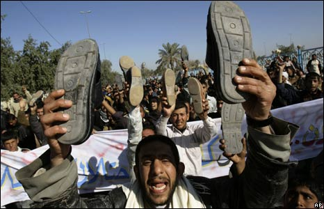 Hundreds of Iraqis protest in Kufa, Iraq 19/12/2008