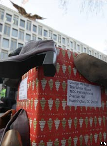 A box of shoes outside the US Embassy at Grosvenor Square, London 19/12/2008