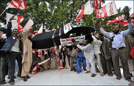 Pasban Pakistan activists protest in Karachi 17/12/2008