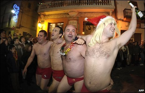 In Valencia, Spain, revellers took part in an unusual new years tradition - a red underwear race. -- Courtesy of the BBC and AFP