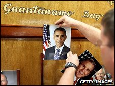 A photo of President Obama is placed in the military headquarters of Guantanamo Bay.