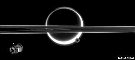 An impression of the TSSM orbiter set against a classic Cassini image (NASA)