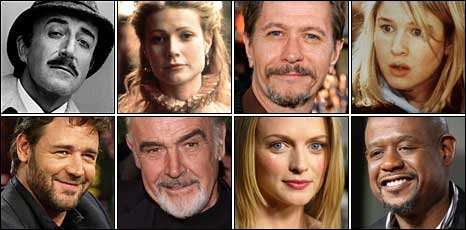 (Top row) Peter Sellers, Gwyneth Paltrow, Gary Oldman, Renee Zellwegger. (Bottom row) Russell Crowe, Sean Connery, Heather Graham, Forest Whitaker